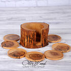 Olive Wood Rustic Coasters set of 8 with Rustic Holder Wedding Decor gift