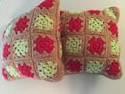 Rectangular Colorful Decorative Pillows Hand Crocheted 100 Acrylic Yarn