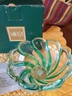 NIB MIKASA WALTHER GLAS CRYSTAL DISH GREEN SWIRL HEAVY BOWL CANDY ANY OCCASION