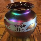 Zellique Iridescent Purple Bull and Bear Art Glass Cameo Vase