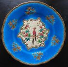 1930s EMAUX DE LONGWY FRANCE REHAUSSE LARGE WALL PLATE MAJOLICA PEACOCK BIRD