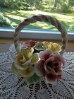 CAPODIMONTE HANDLED FLOWER BASKET CENTERPIECE 4 ROSES 8