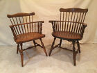 BROS. PAIR OF WINDSOR COLONIAL STYLE COMB BACK ARM CHAIRS (MAPLE)