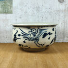Vintage Japanese Kensui Bowl Of Kyo Ware, Crane Hand Painted, Tea Ceremony