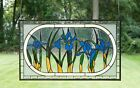 3475L x 205H Handcrafted Beveled stained glass window panel Iris Flowers