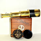 Vintage Leather Antique Brass Pirate Spyglass Nautical Collectible Telescope