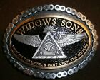 widows sons, 2-tone 24kt gold finish freemasons, masonic biker belt buckle