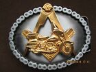 widows sons logo on harley , 24kt gold finish freemasons, masonic biker buckle