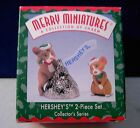 Hallmark 1998 Merry Miniatures Figures Hershey's 2 piece set! mice kiss