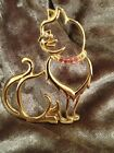 Stunning Gold Cat With Pink Diamonites In Collar Stunning Brooch/Pin Over Thirty