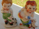 Vintage Occupied Japan Ceramic Miniature Figurines - Boy Wth Dog Girl With Duck
