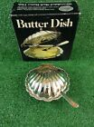 Vintage Leonard Silverplated Clam Shell Butter Dish w/Crystal Insert
