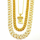 MENS MICRO JESUS 3 CHAINS SET GOLD FINISH MIAMI CUBAN LINK NECKLACE ICED OUT