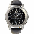 BRAND NEW NAUTICA N21548G NCS 801 ETCHED FLAGS BLACK LEATHER STRAP MEN'S WATCH