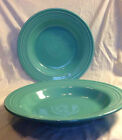 2 Fiesta Ware Turquoise Plates Vtg Dinnerware Deep Dish/Shallow Bowl 9