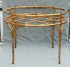 FABULOUS HOLLYWOOD REGENCY GILT METAL FAUX BAMBOO ROUND COCKTAIL COFFEE  TABLE