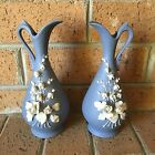 Vintage Lefton's Pair Blue Vase Pitcher Wedgewood Flowers Japan Ceramic Leftons