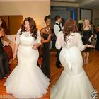 Plus Size Bride Mermaid White Ivory Lace Wedding Dress Bridal Ball Gown Custom