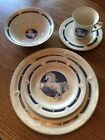 Tienshan Fantasy 5 pc Unicorn Stoneware Dinner Plate Salad Plate Bowl Saucer Cup
