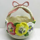 Fitz and Floyd Pansy Parade Basket with Bow 1990 Vintage
