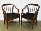 Pr Vtg Hollywood Regency Faux Bamboo Barrel Back Chairs Chinese Chippendale