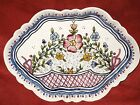Vintage Hand Painted Porcelain Tray, Portugal, Numbered, Multi color on cream