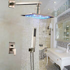 Brushed Nickel Bathroom Shower Faucet LED Light 10 Inch Shower Head + Hand Spray