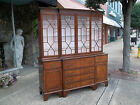 Grand Mahogany English Library Breakfront with Glass Paned Doors 20th century.