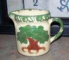 WOODVILLE OHIO HS POTTERY PITCHER USA 375/1050 Dated 2012 Beige Green Brown