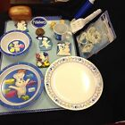 Pillsbury Doughboy Magnetic Board, Magnets, Corelle Plate, and Plastic Dish Set