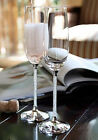 Wedding Champagne Toasting Flutes with Crystal Diamond Stems Set of 2 Glasses