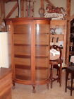 Vintage Cabinets, Early 1900's, Curved Glass, Original, Tiger Oak 6 Ft