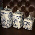 (3) 222 FIFTH ADELAIDE BLUE WHITE TOILE BIRD CANISTERS ~NEW ~
