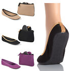 SideKicks Womans Mesh Fold able Ballerina SLIP ON Flats with carry Bag