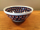 Polish Pottery Hand Painted Cobalt Blue Peacock Brown Eye Bowl 8