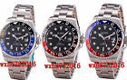 43mm Bliger Sapphire Glass Black Dial GMT Stainless Automatic Mens Watch 653