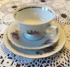 Tea Cup Trio Royal Kent Pink Rose Blue Yellow Flowers Embossed Gold Trim Vintage