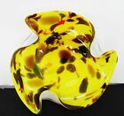 Vintage Yellow Murano Abstract Art Glass Ashtray/Dish