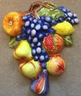 Deruta Pottery-fruits Wall Plaque With Relief.Made/Painted by hand-Italy