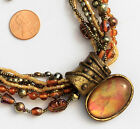 Chico's Signed Necklace Antique Gold Tone Oval Pendant Multi Strand Amber Color