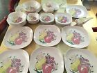Vintage Red Wing Dinnerware Art Pottery Hand Painted Pink Fruit Plates Bowls Set