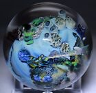 Spectacular JOSH SIMPSON Blue PLANET with COMET Streaking Art Glass PAPERWEIGHT