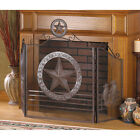 TEXAS STYLE LONE STAR FIREPLACE SCREEN WESTERN RUSTIC FINISH 12569
