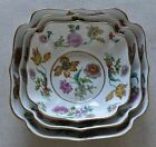 Three (3) AJCO France Limoges Botantical Square Porcelain Nesting Serving Bowls