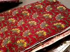 VTG French Country Style Fabric Material 2 3/4 Yards Burgundy Yellow Sage Green