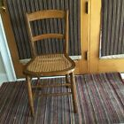 ANTIQUE SIDE CHAIR WITH CANED SEAT- 1800'S - MEDIUM BROWN WOOD