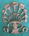 Vintage Art Noveau Victorian Flowers with Bow Brass Wall Decoration Plaque