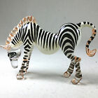 Miniature Figurine Hand Painted Blown Glass Zebra Animal Collectible Gift 485