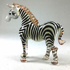 Miniature Figurine Hand Painted Blown Glass Zebra Animal Collectible Gift 487