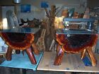 pair of rustic cedar end tables